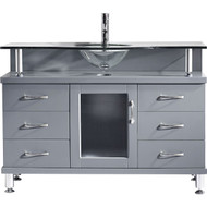 "Virtu USA Vincente 48"" Single Bathroom Vanity Cabinet in Grey"