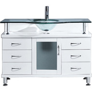 "Virtu USA Vincente 48"" Single Bathroom Vanity Cabinet in White"