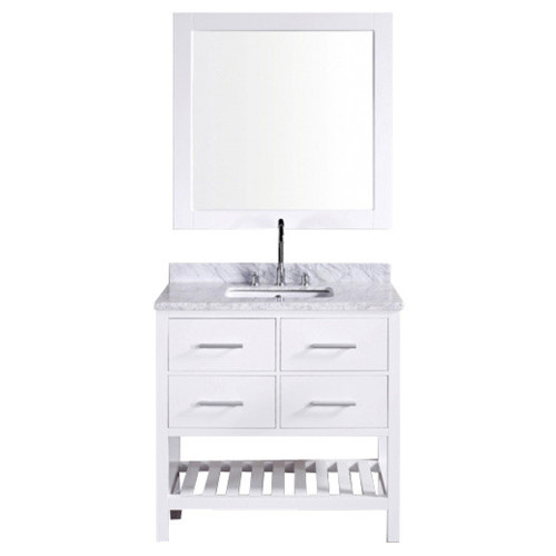"London 36"" Single Sink Vanity Set in White"