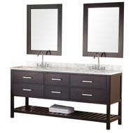 "Design Element DEC077B | London 72"" Double Sink Vanity Set in Espresso"