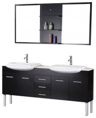"Design Element DEC078B | Belini 72"" Double Sink Vanity Set in Espresso"