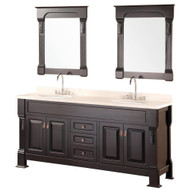 "Design Element DEC081B | Marcos 72"" Double Sink Vanity Set with Travertine Stone Countertop in Espresso"