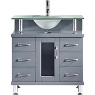 "Virtu USA Vincente 32"" Single Bathroom Vanity Cabinet in Grey w/ Frosted Tempered Glass Counter-Top"