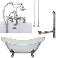 "Cambridge Plumbing Cast Iron Double Ended Slipper Tub 71"" X 30"" with 7"" Deck Mount Faucet Drillings and Complete Brushed Nickel Plumbing Package"
