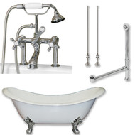 "Cambridge Plumbing Cast Iron Double Ended Slipper Tub 71"" X 30"" with 7"" Deck Mount Faucet Drillings and British Telephone Style Faucet Complete Polished Chrome Plumbing Package With Six Inch Deck Mount Risers"