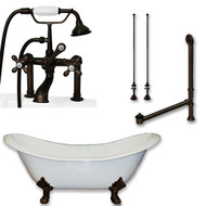 "Cambridge Plumbing Cast Iron Double Ended Slipper Tub 71"" X 30"" with 7"" Deck Mount Faucet Drillings and British Telephone Style Faucet Complete Oil Rubbed Bronze Plumbing Package With Six Inch Deck Mount Risers"
