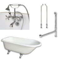 "Cambridge Plumbing Cast-Iron Rolled Rim Clawfoot Tub 55"" X 30"" with  3 3/8"" Bathtub Wall Faucet Drillings and British Telephone Style Faucet Complete Chrome Plumbing Package"