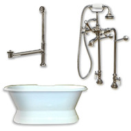 "Cambridge Plumbing Cast Iron Double Ended Slipper Tub 71"" X 30"" with No Faucet Drillings and Complete Free Standing British Telephone Faucet and Hand Held Shower e Brushed Nickel Plumbing Package"