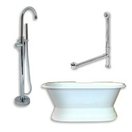 "Cambridge Plumbing Cast Iron Double Ended Slipper Tub 71"" X 30""  with no Faucet Drillings and Complete Polished Chrome Modern Freestanding Tub Filler with Hand Held Shower Assembly Plumbing Package"