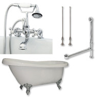 "Acrylic  Slipper Bathtub 67"" X 30"" with  7"" Deck Mount Faucet Drillings and British Telephone Style Faucet Complete Polished Chrome Plumbing Package"