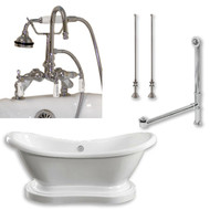 "Acrylic Double Ended  Pedestal Slipper Bathtub 68"" X 28"" with 7"" Deck Mount Faucet Drillings and Complete Chrome Plumbing Package"