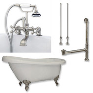 "Acrylic  Slipper Bathtub 67"" X 30"" with  7"" Deck Mount Faucet Drillings and British Telephone Style Faucet Complete Brushed Nickel Plumbing Package"