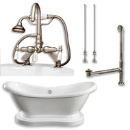 "Acrylic Double Ended  Pedestal Slipper Bathtub 68"" X 28"" with 7"" Deck Mount Faucet Drillings and Complete Brushed Nickel Plumbing Package"