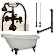 "Acrylic  Slipper Bathtub 67"" X 30"" with  7"" Deck Mount Faucet Drillings and British Telephone Style Faucet Complete Oil Rubbed Bronze Plumbing Package"