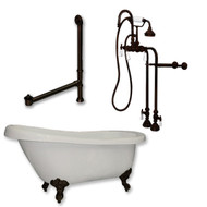 "Acrylic  Slipper Bathtub 61"" X 30"" with No Faucet Drillings and Complete Oil Rubbed Bronze Plumbing Package"