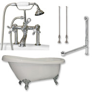 "Acrylic  Slipper Bathtub 61"" X 30"" with  7"" Deck Mount Faucet Drillings and Complete Polished Chrome Plumbing Package"