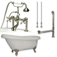 "Acrylic  Slipper Bathtub 67"" X 30"" with  7"" Deck Mount Faucet Drillings and Complete Brushed Nickel Plumbing Package"