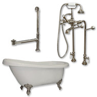 "Acrylic  Slipper Bathtub 61"" X 30"" with No Faucet Drillings and Complete Brushed Nickel Plumbing Package"