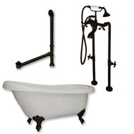 "Acrylic  Slipper Bathtub 67"" X 30"" with no Faucet Drillings and Complete Oil Rubbed Bronze Plumbing Package"
