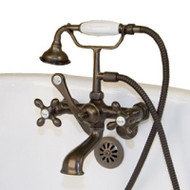 Cambridge Plumbing CAM463W-ORB Clawfoot Tub Wall Mount British Telephone Faucet with Hand Held Shower-Oil Rubbed Bronze