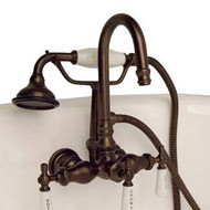 Cambridge Plumbing CAM684W-ORB Clawfoot Tub Brass Wall Mount Faucet with Hand Held Shower-Oil Rubbed Bronze