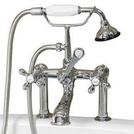 """Cambridge Plumbing CAM463-6-CP Clawfoot Tub 6"""" Deck Mount Brass Faucet with Hand Held Shower-Polished Chrome"""