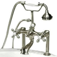 "Cambridge Plumbing CAM463-6-BN Clawfoot Tub 6"" Deck Mount Brass Faucet with Hand Held Shower- Brushed Nickel"