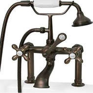 "Cambridge Plumbing CAM463-6-ORB Clawfoot Tub 6"" Deck Mount Brass Faucet with Hand Held Shower-Oil Rubbed Bronze"