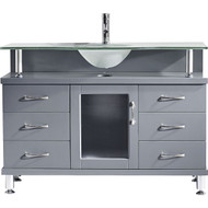 "Vincente 47"" Single Bathroom Vanity Set in Grey"