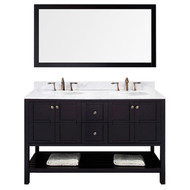 "Virtu USA Winterfell 60"" Double Bathroom Vanity Set in Espresso"