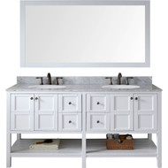 "Virtu USA Winterfell 72"" Double Bathroom Vanity Set in White"