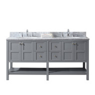 "Virtu USA Winterfell 72"" Double Bathroom Vanity Set in Grey w/ Italian Carrara White Marble Counter-Top"
