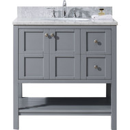 "irtu USA Winterfell 36"" Single Bathroom Vanity Set in Grey"