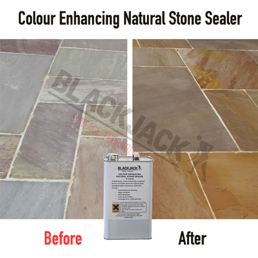 Colour Enhancing Natural Stone Sealer Before and After