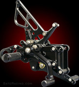 SATO RACING BMW-S1RSA REARSETS BLACK S1000RR 09-13 ABS MODEL