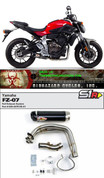 TWO BROTHERS RACING 005-4070105-S1 COMPLETE FULL EXHAUST SYSTEM S1R S1-R CARBON FIBER MUFFLER  005-4070105-S1  STAINLESS HEADER  / COLLECTOR & MID / LINK PIPE  YAMAHA FZ07 FZ-07 FAZER 700 FZ 07   2015 15 16 2016
