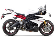TWO BROTHERS RACING 2 BROS 005-3580405-S1 SLIP ON SO EXHAUST SYSTEM S1R S1-R CARBON FIBER MUFFFLER  STAINLESS  MID / LINK PIPE  TRUIMPH DAYTONA 675 675R  13 14 15 2013 2014 2015
