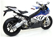 ARROW 71142CKZ COMPETITION SHORTY FULL SYSTEM BMW S1000RR 2015 15  ARROW Full race Evo-2 (short) system with titanium/carbon silencer and titanium mid-pipe removing cat.   TITANIUM TI HEADER / COLLECTOR      Includes fitting kit and removable baffle.