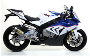 ARROW 71140CKZ COMPETITION HIGH MOUNT FULL SYSTEM BMW S1000RR 2015 15  ARROW Full race Evo-2 HIGH system with titanium/carbon silencer and titanium mid-pipe removing cat.   TITANIUM HEADER / COLLECTOR      Includes fitting kit and removable baffle.