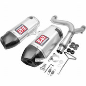 YOSHIMURA 228422H320 SLIP ON SLIP-ON SO EXHAUST SYSTEM  RS-9 RS9 DUAL 2 ALUMINUM AL MUFFLER W CARBON FIBER CF END CAPS  STAINLESS STEEL MID / LINK PIPE  HONDA CRF250R CRF 250R 250 2014 14 15 2015 16 2016
