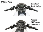 WOODCRAFT CFM RACING # 12-16  Clipon Riser Adapter Plate w/ Long Black Bars  1 INCH RISE   DUCATI MONSTER 696 796 1100