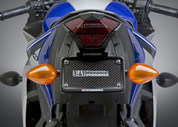 YOSHIMURA 070BG133200 FENDER ELIMINATOR KIT LASER CUT STAINLESS STEEL SS BRACKET CNC LIGHT HOLDER W 4 LED LIGHTS ANODIZED BLACK AL LICENSE PLATE FRAME  YAMAHA YZF-R3 R3 R300 YZF R3  15 16 2015 2016