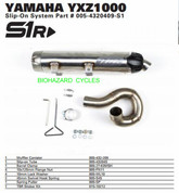 TWO BROTHERS 005-4320409-S1 SLIP ON SO EXHAUST SYSTEM  S1R S1-R STAINLESS STEEL SS MUFFLER & MID / LINK PIPE  YAMAHA YXZ1000 YXZ1000R YXZ 1000 1000R 2016 16