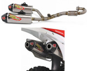PRO CIRCUIT 0311525F2 FULL EXHAUST SYSTEM TI-6 DUAL TITANIUM TI MUFFLERS W CARBON CF END CAP TITANIUM  HEAD /  MID / LINK PIPE HONDA CRF250R CRF 250R 250 2014 14 15 2015  RC-4 Resonance Chamber  Removable USFS approved spark arrestoR MADE IN USA!