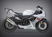YOSHIMURA SLIP-ON SO EXHAUST SYSTEM  ALPHA STAINLESS MUFFLER W CARBON CF END CAP  STAINLESS MID / LINK PIPE  SUZUKI GSXR600 GSXR750 GSX-R600 GSX-R750 GSXR-600 GSXR-750 GSXR 600 750 11 12 13 2011 2012 2013 14 15 16 2014 2015 2016