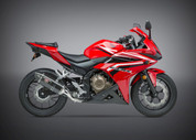 YOSHIMURA 12551E0220 SLIP ON SO EXHAUST SYSTEM R-77 R77 CARBON FIBER MUFFLER & END CAP HONDA CBR500R CBR500 CBR 500 500R 2016 16