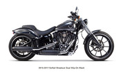 TWO BROS 005-3760499D-B HD Softail 13-17 BLACK Dual EXHAUST