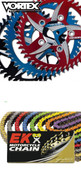 VORTEX / EK ZVX3 520 CHAIN & SPROCKET KIT  CHOICE SIZE & COLORS
