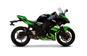 TWO BROS 2 BROTHERS RACING 005-4630107-S1B S1R  S1 BLACK SERIES CARBON FIBER CF FULL EXHAUST SYSTEM  STAINLESS HEADER / COLLECTOR & MID LINK PIPE  KAWASAKI NINJA 650R 650 2017 17