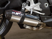 M4 HO8832 SLIP ON SO EXHAUST SYTEM  STREET SLAYER POLISHED STAINLESS SS GP STYLE MUFFLER W CARBON CF END CAP STAINLESS SS S BEND LINK / MID PIPE HONDA CBR1000RR CBR1000 FIREBLADE CBR 1000 100RR  08 09 10 11 12 13 14 15 2008 2009 2010 2011 2012 2013 2014 2015